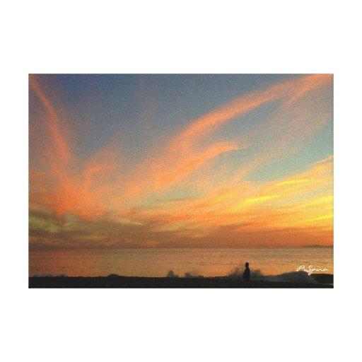 Puesta del sol sobre la lona del océano lona envuelta para galerías