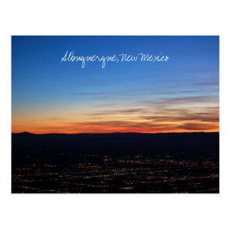 Puesta del sol sobre la postal de Albuquerque