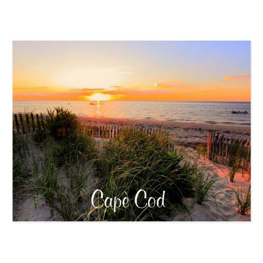 Puesta del sol sobre la postal de Cape Cod mA de l