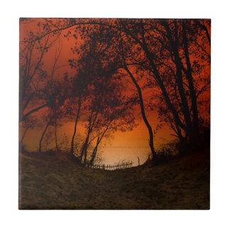 Puesta del sol sobre las dunas del lago Michigan Azulejo Cuadrado Pequeño