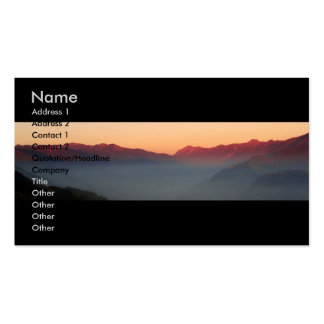 Puesta del sol sobre las montañas/tarjeta del perf tarjeta de visita