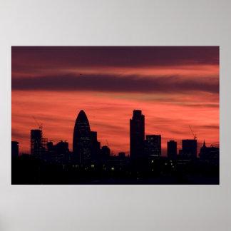 Puesta del sol sobre Londres Posters