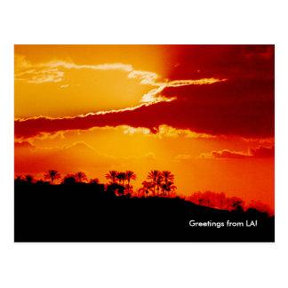 Puesta del sol sobre Los Ángeles California Tarjetas Postales