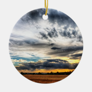 Puesta del sol sobre los campos de trigo Skyscape Ornaments Para Arbol De Navidad