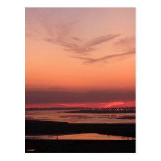 Puesta del sol sobre Merseyside Postales