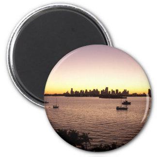 Puesta del sol sobre Miami Imán Redondo 5 Cm