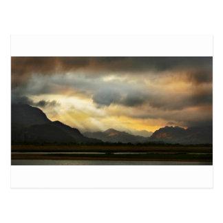 Puesta del sol sobre Snowdonia Postales