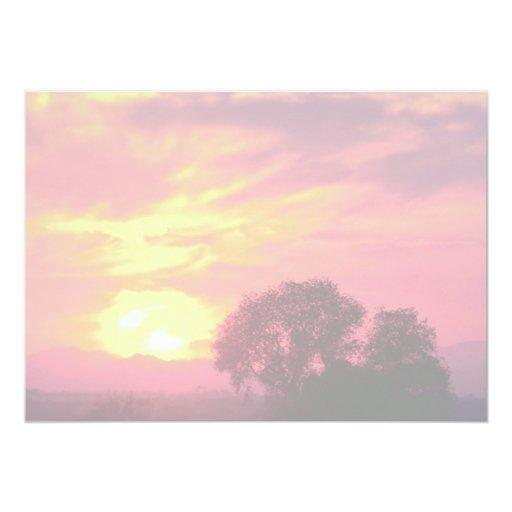 """Puesta del sol sobre tierras de labrantío, gran invitación 5"""" x 7"""""""