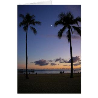 Puesta del sol sobre Waikiki Tarjeta