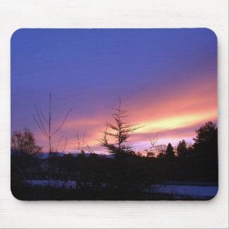 Puesta del sol Strathspey Escocia del invierno Tapete De Ratón