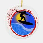 Puesta del sol Surfer.png Ornamento Para Arbol De Navidad