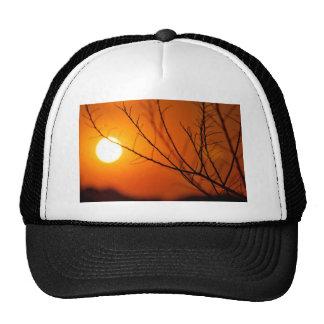 Puesta del sol suspendida gorras de camionero