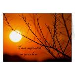 Puesta del sol suspendida tarjeta de felicitación
