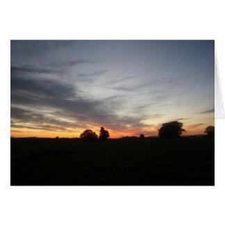 Puesta del sol tarjeta de felicitación