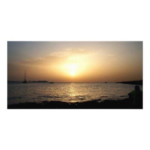 Puesta del sol tarjeta fotográfica