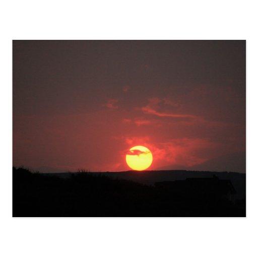 Puesta del sol tarjetas postales