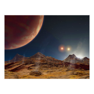 Puesta del sol triple de la estrella de un planeta póster