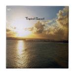 Puesta del sol tropical azulejo