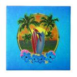Puesta del sol tropical azulejo ceramica