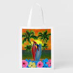 Puesta del sol tropical bolsa de la compra