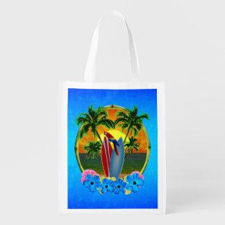 Puesta del sol tropical bolsa reutilizable