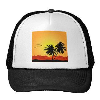 Puesta del sol tropical bonita gorras