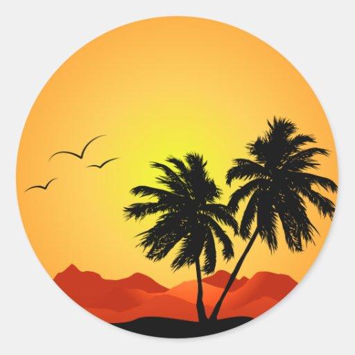 Puesta del sol tropical bonita pegatinas redondas