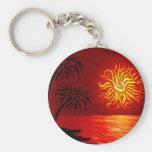 Puesta del sol tropical candente llavero redondo tipo pin