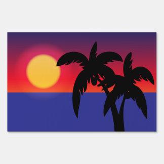 Puesta del sol tropical cartel