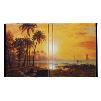 Puesta del sol tropical con el caso del iPad 3 de