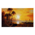 Puesta del sol tropical con el poster de los barco