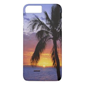 Puesta del sol tropical con la palmera funda iPhone 7 plus