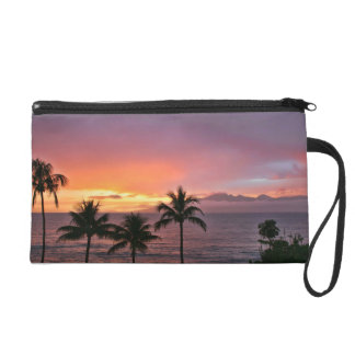 Puesta del sol tropical de Hawaii en la playa