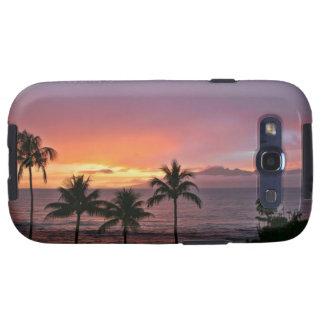 Puesta del sol tropical de Hawaii en la playa Galaxy SIII Cárcasa