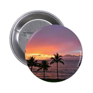 Puesta del sol tropical de Hawaii en la playa Pin Redondo De 2 Pulgadas