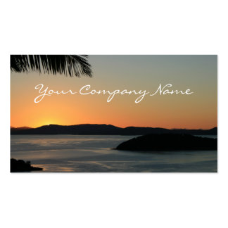 Puesta del sol tropical de la isla - tarjetas de v plantilla de tarjeta de visita