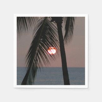Puesta del sol tropical de la palmera servilleta de papel