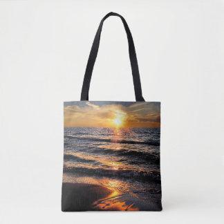 Puesta del sol tropical de la playa bolsa de tela