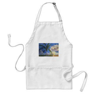 Puesta del sol tropical de la playa delantales