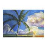 Puesta del sol tropical de la playa lona estirada galerías