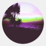Puesta del sol tropical de la playa y de árboles etiquetas redondas
