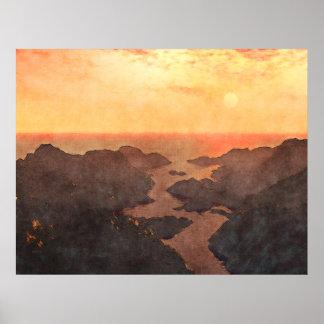 Puesta del sol tropical de las islas póster