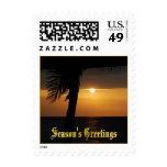 Puesta del sol tropical de los saludos de las sello