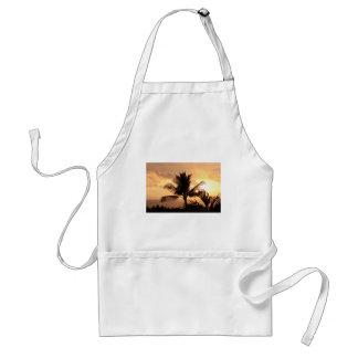 Puesta del sol tropical de oro y palmera delantal