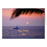 Puesta del sol tropical del feliz cumpleaños de tarjeta de felicitación