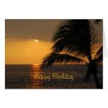 Puesta del sol tropical del feliz cumpleaños tarjeta