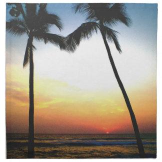 Puesta del sol tropical del horizonte del océano servilletas de papel