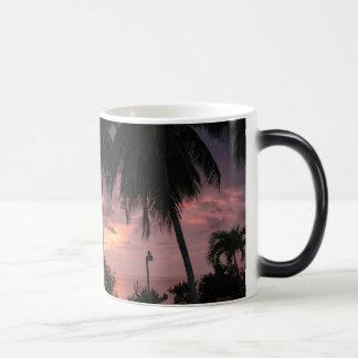 Puesta del sol tropical en una taza morphing