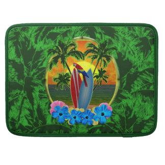 Puesta del sol tropical fundas para macbook pro