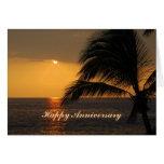 Puesta del sol tropical hawaiana del aniversario tarjeta de felicitación